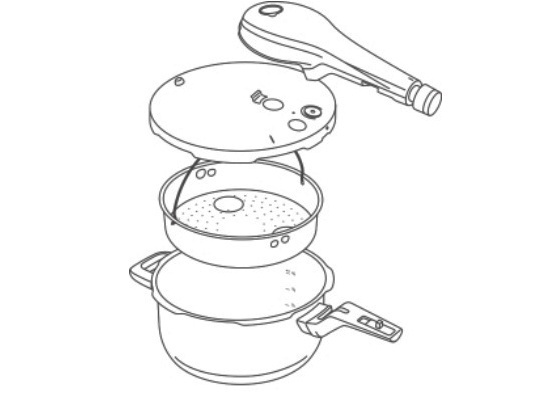 Eine grafische Darstellung der Einzelteile des WMF Schnellkochtopfes